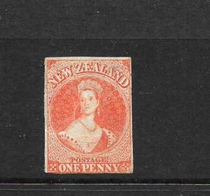 NEW ZEALAND  1862-64  1d     FFQ  MNG  IMPERF   SG 33  CP a1e2 CHALON