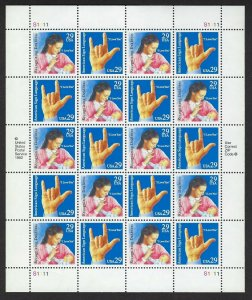 U.S.#2783-84 SIGN LANGUAGE  MINT, VF, NH   FULL SHEET @ FACE VALUE!