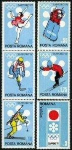 Romania 2294-2299,2300,MNH. Olympics Sapporo-1972.Figure skating,Hockey,Biathlon