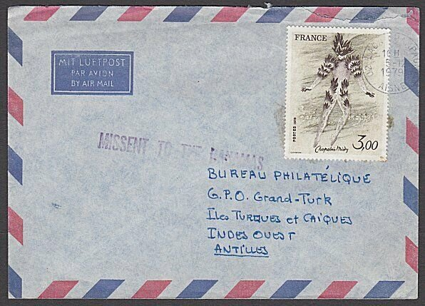 MISSENT TO BAHAMAS on 1979 cover France to Turks Is ........................A796