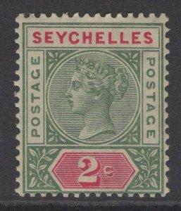 SEYCHELLES SG9 1892 2c GREEN & ROSINE DIE II MTD MINT