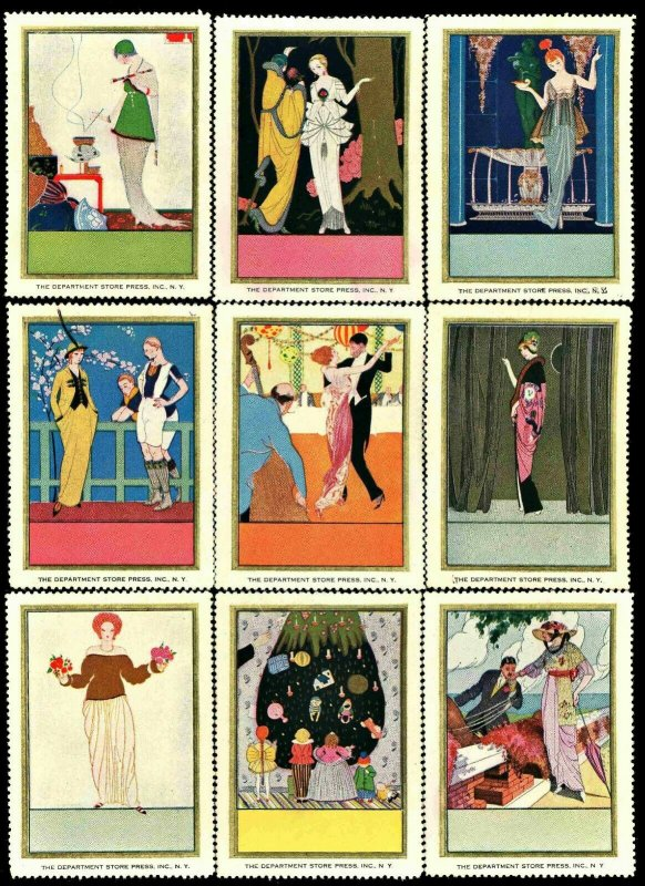 DEPARTMENT STORE PRESS ( US Poster Stamp ) SET of 9