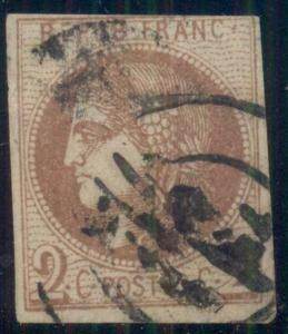 FRANCE #39, 2c red brown, used w/bit heavy cancel, VF, Scott $225.00