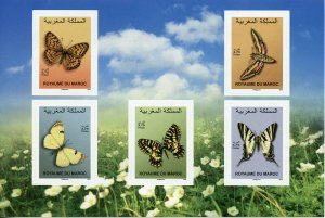 Morocco Stamps 2019 MNH Butterflies Butterfly Fauna Insects 5v S/A M/S