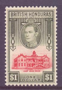 Br Honduras Scott 124 - SG159, 1938 George VI $1 MH* fault