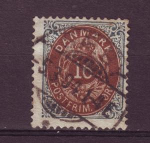 J11898 JL stamps 1875-9 denmark used #30 numeral perf 14 x 13 1/2