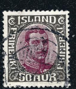Iceland Scott #125 50Aur VF Used SCV $14