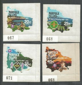 1978 Norfolk Islands Boy Scout 50th anniversary self adhesive plate singles