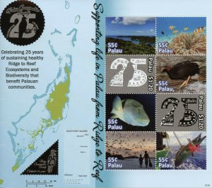 Palau 2019 MNH Conservation Society 8v M/S Fish Birds Corals Marine Stamps