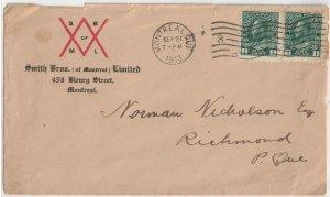 CANADA - 1913 Cover SC104 Pair Used