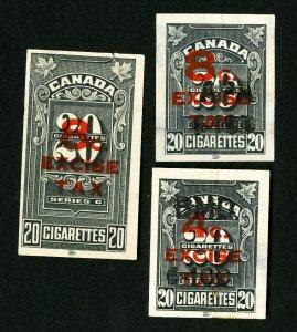 Canada Stamps VF Lot of 3 Cigarette Revenues