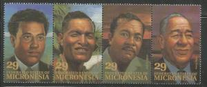 MICRONESIA 177A  MNH, STRIP OF 4 STAMPS, LOCAL LEADERS