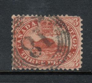 Canada #12 Very Fine Used With 4 Ring 18 Cancel - Short Perfs At Upper Left