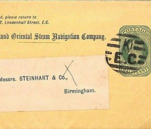 GB Cover Stationery WRAPPER Peninsular and Oriental Steam Navigation Co MS1368