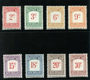 Seychelles 1951 KGVI Postage Due set complete superb MNH. SG D1-D8. Sc J1-J8.