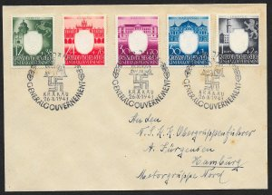 POLAND Sc#NB28-32 Cover canceled 1943 Krakau to Hamburg
