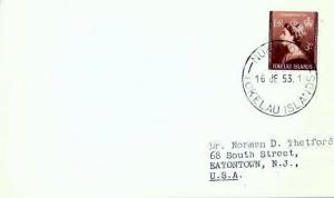 Tokelau Islands 3d QEII Coronation 1953 Nukuono, Tokelau Islands to Eatontown...
