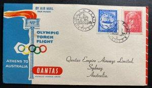 1956 Athens Greece Olympic Torch Flight Cover FDC To Sydney Australia Qantas