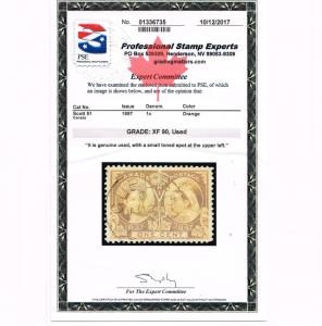 GENUINE CANADA SCOTT #51 XF USED PSE CERT GRADED XF-90 1897 ORANGE JUBILEE ISSUE