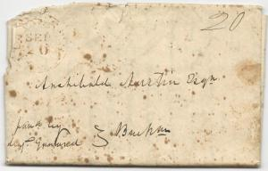 US Stampless Cover Folded Letter Oak Ridge, PA CDS September 20, 1836 20c Rate