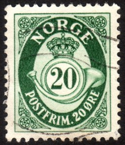 1952, Norway 20ö, Posthorn, Used, Sc 326, VF/XF-88