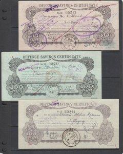 Bangladesh Defence Savings Certificates, 50r,100r, 1000r denominations, 3 diff.