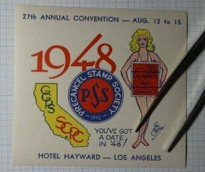 PSS Convention 1948 Los Angeles Ca 3c Postage Philatelic Souvenir Ad Label