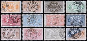 Sweden Scott O12-15, O17-20, O22-25 (1881-95) Used H F-VF, CV $60.35 B