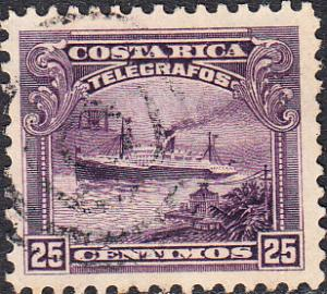 Costa Rica Telegraph - Hiscock #15 Used
