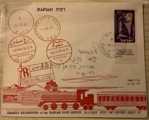 ISRAEL 1957. POSTAL HISTORY. SG #132. Re-Opening of the RAFIAT POST OFFICE
