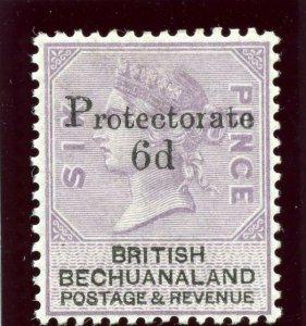 Bechuanaland 1888 QV 6d on 6d lilac & black MLH. SG 45. Sc 65.