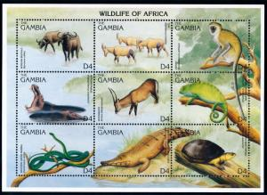 [66321] Gambia 1996 Wild Life Hippo Turtle Crocodile Snake Sheet MNH