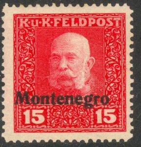 MONTENEGRO AUSTRIA OCCUPATION 1918 15h Franz Joseph Portrait Issue Sc 1N4 MH
