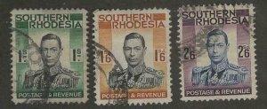 Southern Rhodesia #50, 51, 53 > George VI of 1937 > Used > SCV $11.25