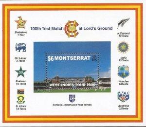 Montserrat - 2000 100th Test Cricket Match - Stamp Souvenir Sheet #1002