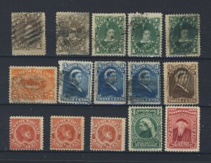 15x Newfoundland Stamps #42-43-44-44a-45-48-49-49a-49b-51 3x 56-61-62 GV=$126.00