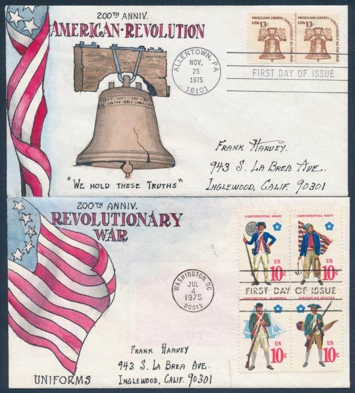 #1565-1568, #1595 (2) 200TH ANNIV REVOLUTIONARY WAR H.MAUL FDC HANDDRAWN BU181