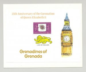 Grenada Grenadines #270-272 Queen Elizabeth 3v Imperf Proofs on M/S Backgrounds