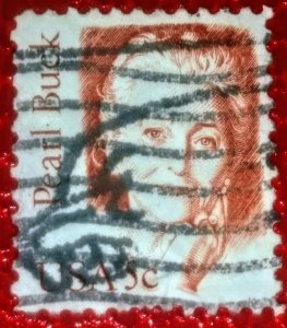 USA  1848 – 1983 5c Great Americans: Pearl Buck used f/vf w/ amazing cancel