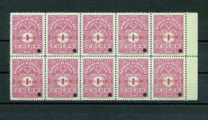 Costa Rica Timbres Archives  Specimens Block MNH (10 Stamps)GX 790s