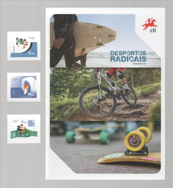 Bro. LABEL STAMPS 2014 PORTUGAL EXTREME SPORTS SURF SURFING SKATE BIKE CYCLING