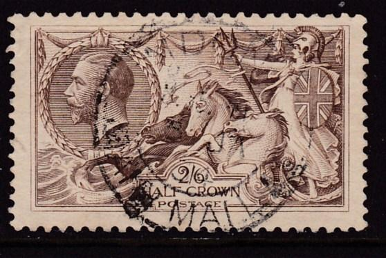 Great Britain 1919 KGV 2/6 Britannia Re-Touched  F/VF/Used(o)