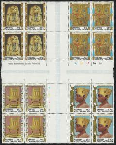 Central Africa, Egyptology Issue, Scott #349-352 Cross Gutter Block. of 16, NH