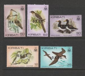 Kiribati 1983 OKGS Opts on Birds UM/MNH SG O36/40