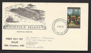 NORFOLK ISLAND 1970 CHRISTMAS Issue Sc 143 on Cachet FDC