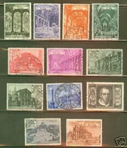 VATICAN Scott 122-31+E11-2 Used 1949 Basilica Set CV$45