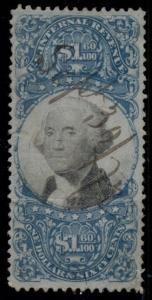 US #R121 $1.60 blue & black, used, VF, Miller certificate, Scott $750.00