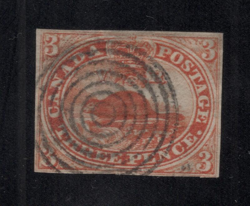 Canada #4d Red - Thin Paper - Bulls Eye Cancel