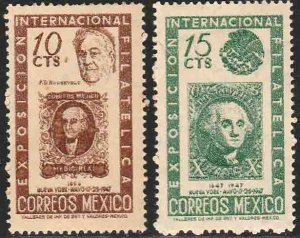 MEXICO 826-827, CENTENARY INTERNATIONAL PHILATELIC EXHIBITION. MINT, NH. VF.
