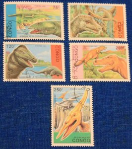 Congo complete set of 5 cancelled stamps #1043-1047 dinos